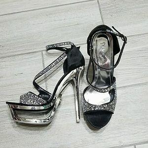 NWOT Black and silver rhinestone platform heels
